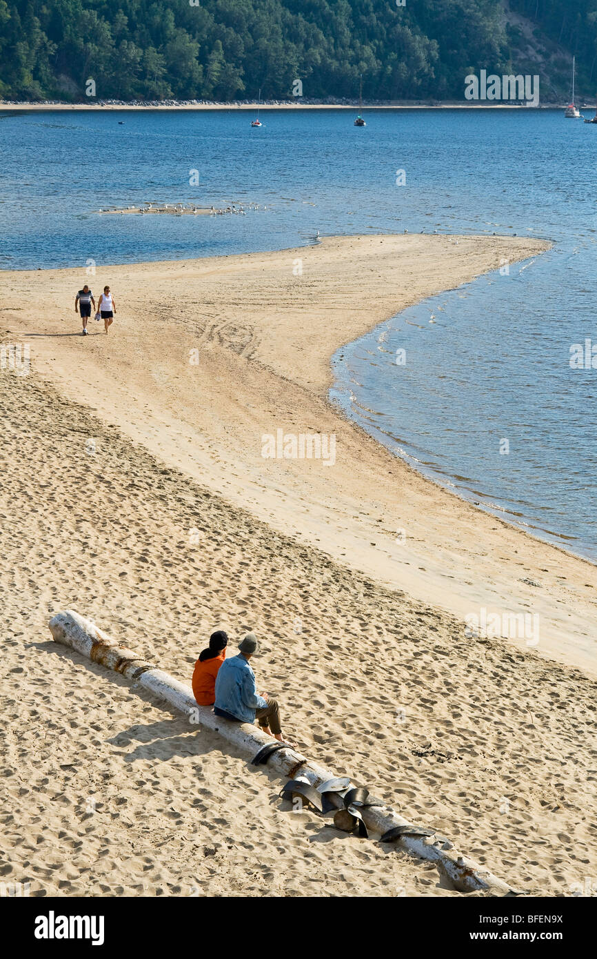 Beach located in the Tadoussac Bay and at the very foot of the village of Tadoussac, Manicouagan, Quebec, Canada - Stock Image