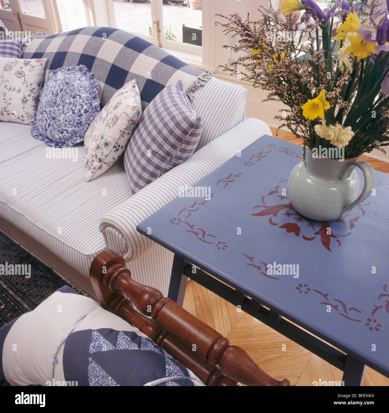 Awesome Painted Blue Table Beside Striped Sofa With Blue White Creativecarmelina Interior Chair Design Creativecarmelinacom