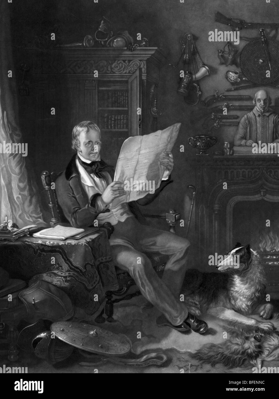 Portrait engraving of Scottish historical novelist and poet Sir Walter Scott (1771 - 1832) in his study at Abbotsford - Stock Image