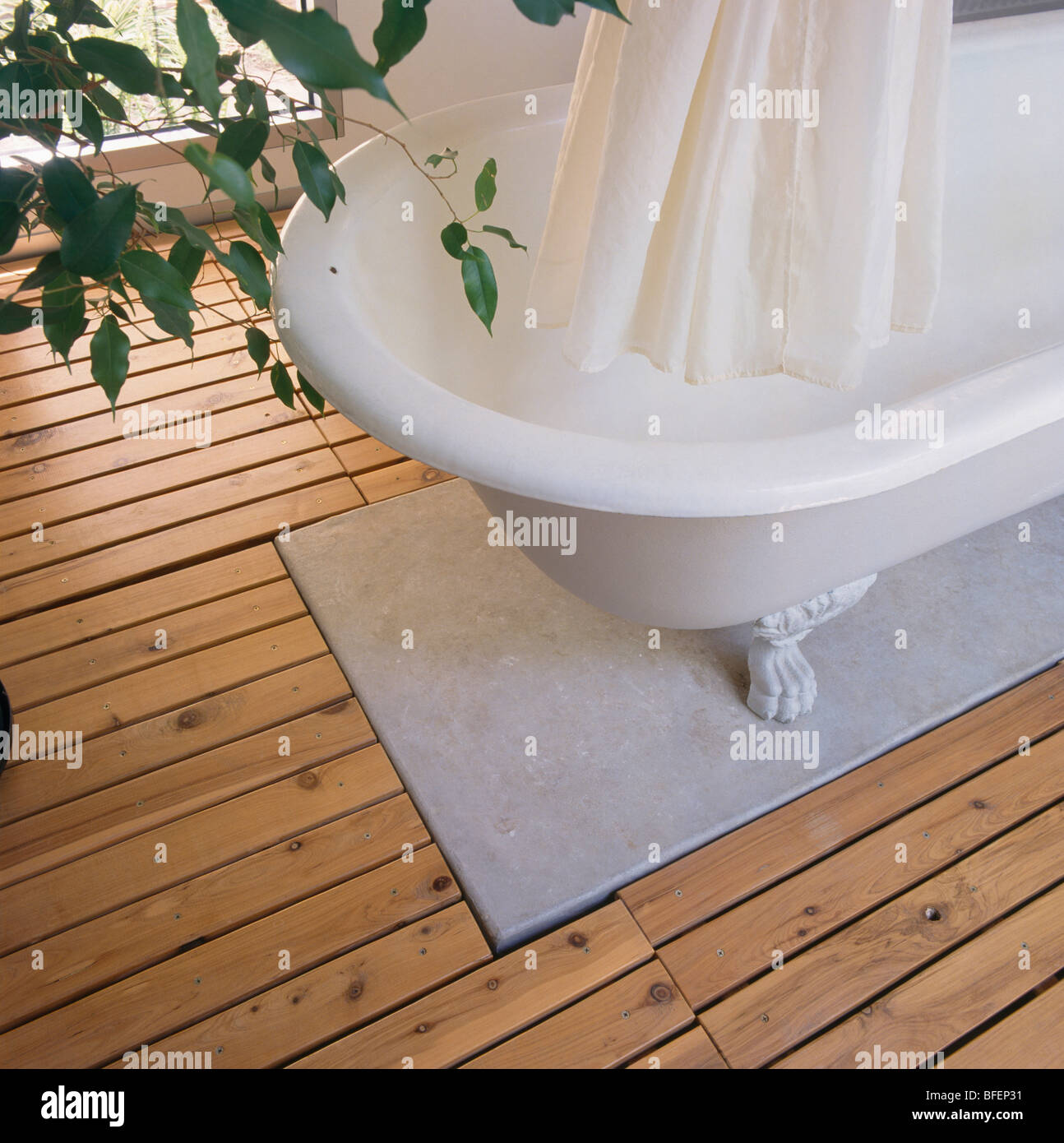 Close Up Of White Shower Curtain And Roll Top Bath On Marble Wooden Flooring