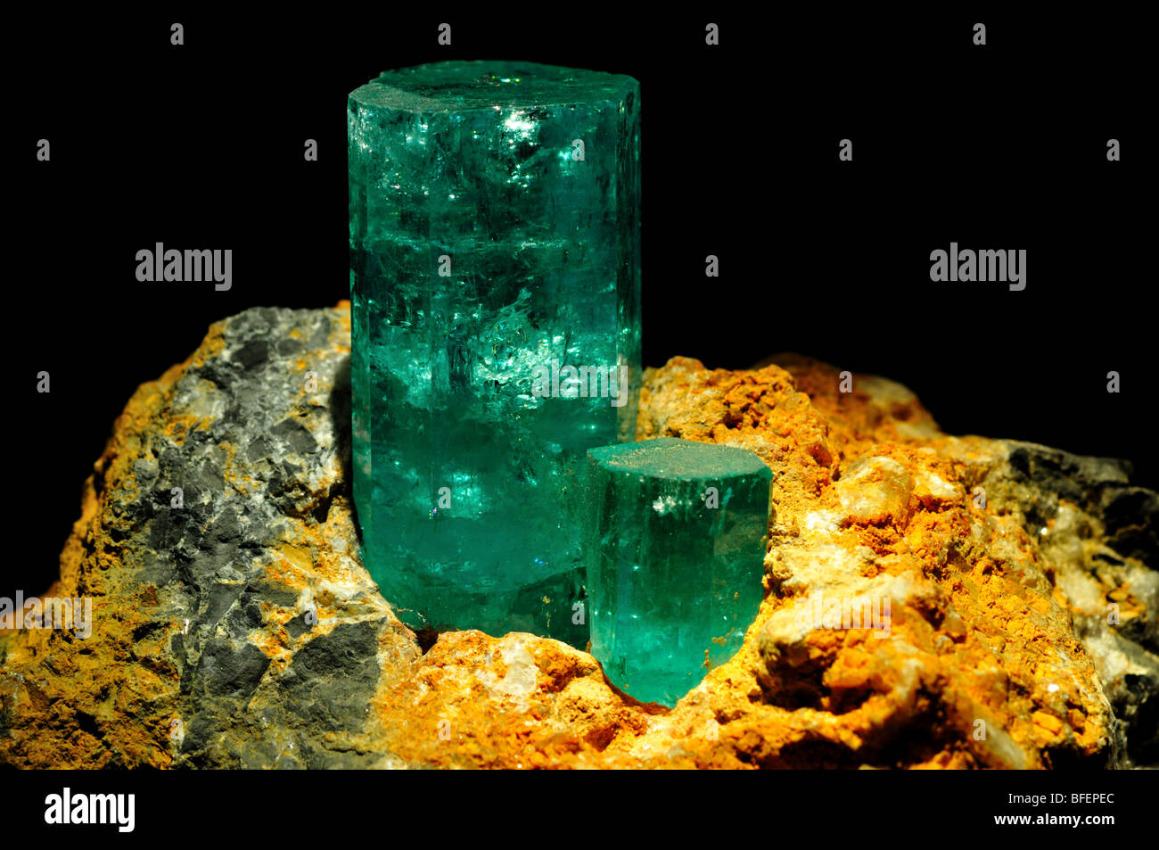 Crystals of mineral emerald, a variety of beryl. - Stock Image