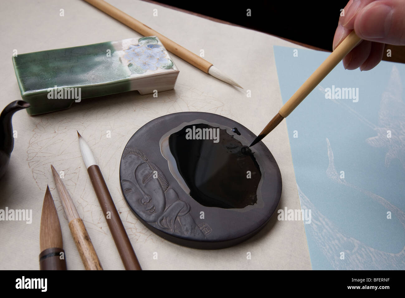 calligraphy painting brushes, inks, and stones. - Stock Image