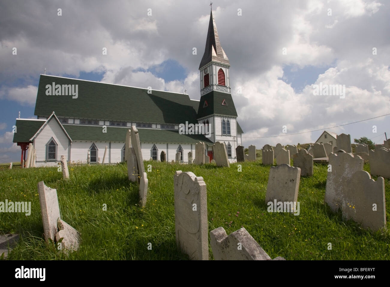 St. Paul's Anglican Church and surrounding graveyard, Trinity, Newfoundland, Canada - Stock Image