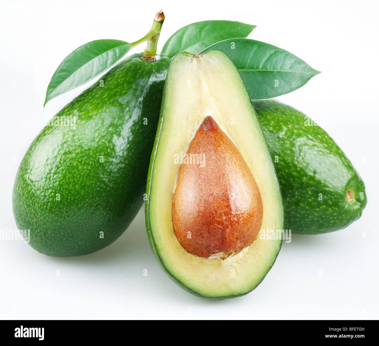 Avocado with leaves on a white background - Stock Image