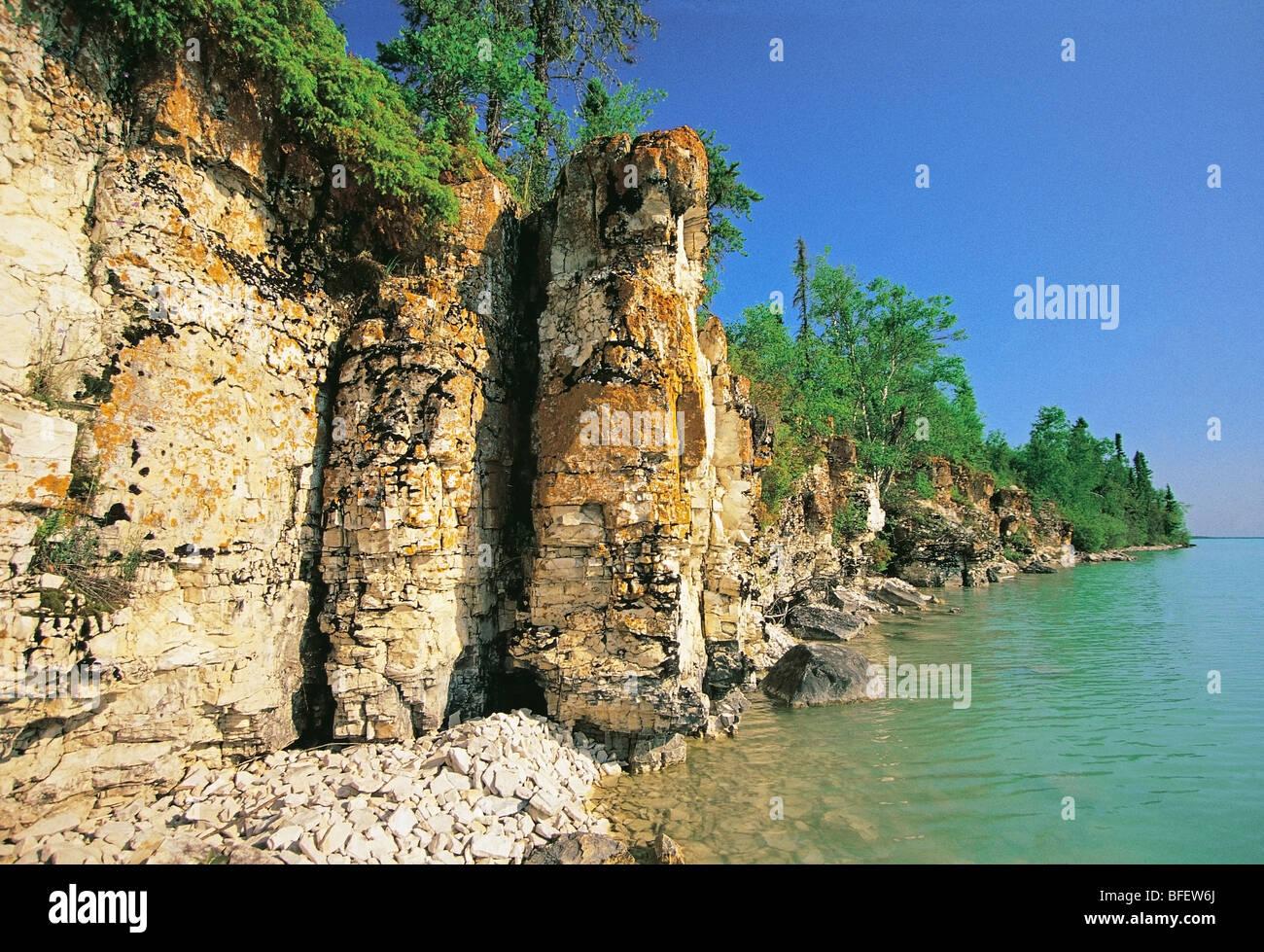 Limestone cliffs along Little Limestone Lake Park Reserve, Manitoba, Canada - Stock Image