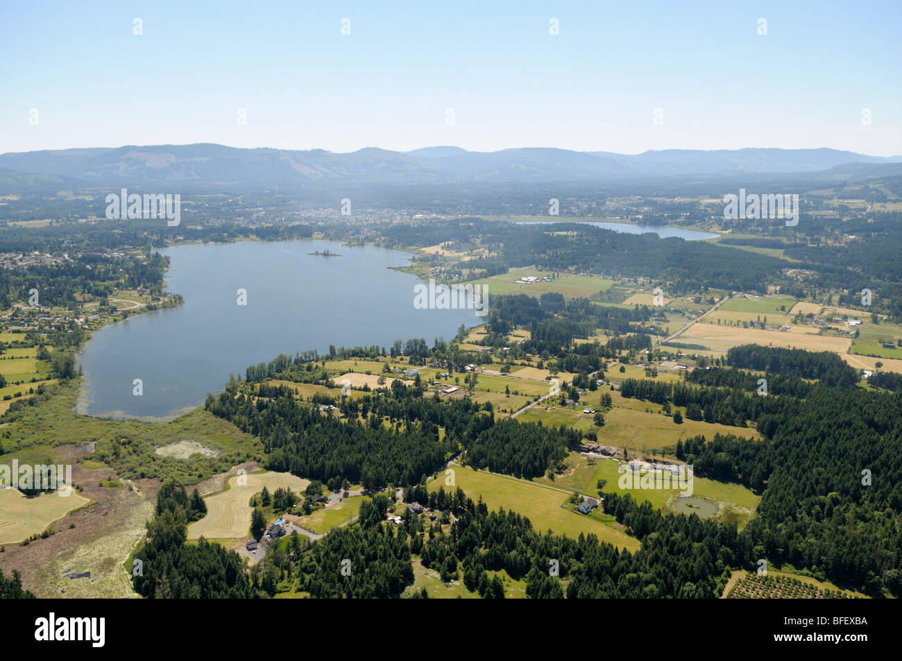 Aerial photograph of Quamichan Lake, Cowichan Valley, Vancouver Island, British Columbia, Canada. Stock Photo