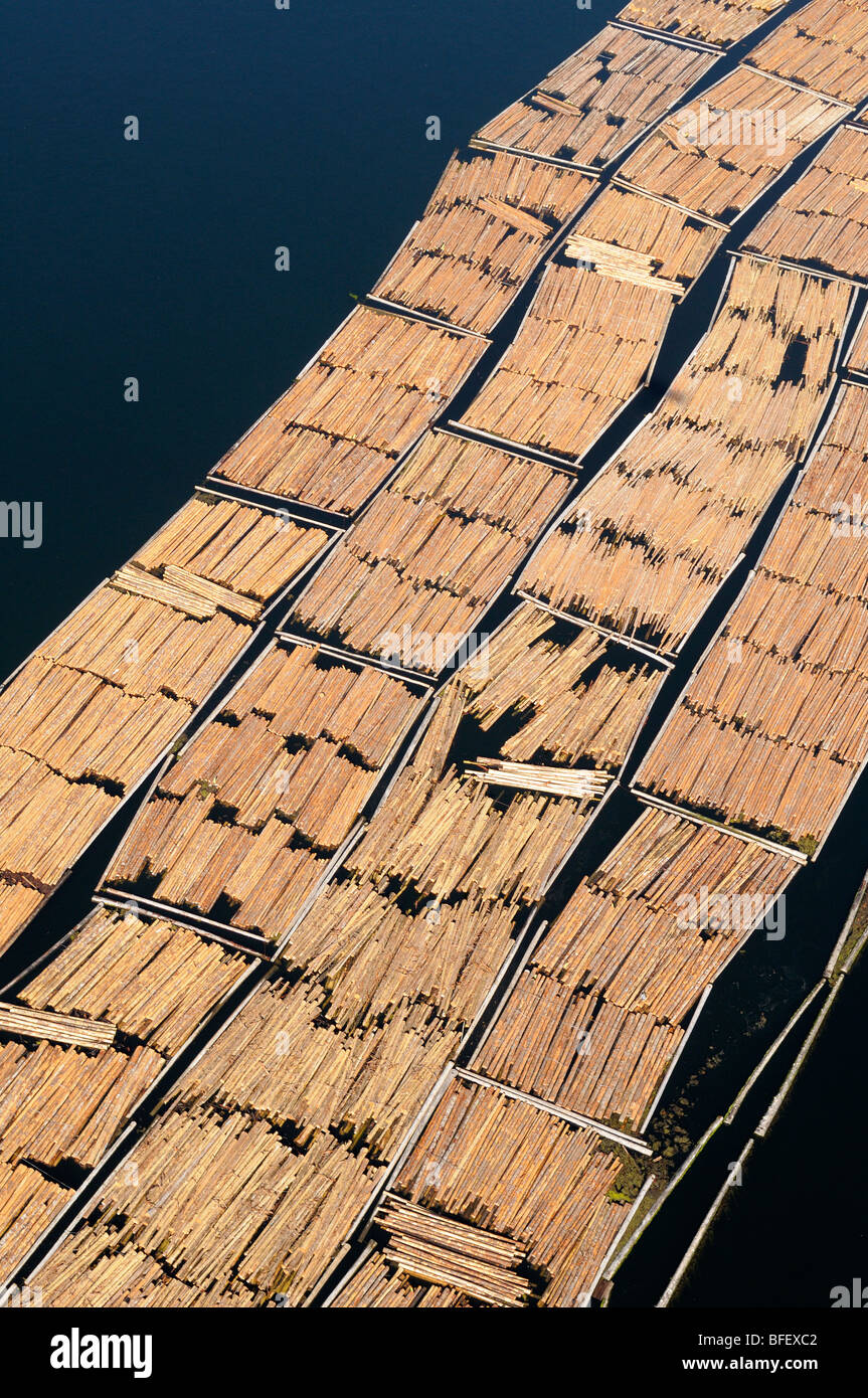 Aerial photo of log booms at the Catalyst Paper Mill, Crofton, Vancouver Island, British Columbia, Canada. - Stock Image