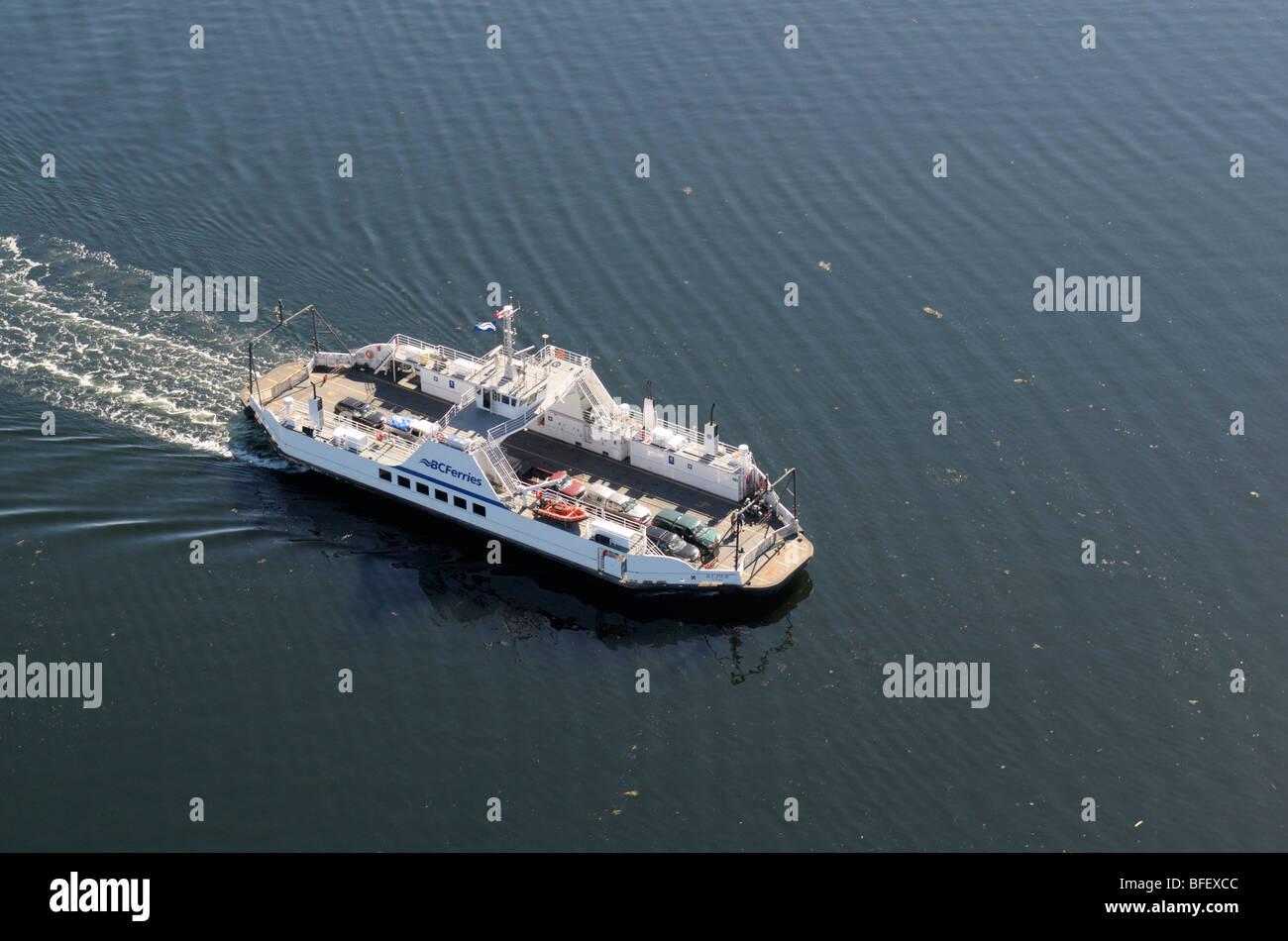 Aerial photograph of BC Ferry Kuper, Chemainus, Vancouver Island, British Columbia, Canada. Stock Photo