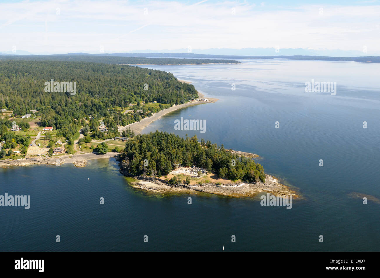 Looking north to Yellow Point, Vancouver Island, British Columbia, Canada. Stock Photo