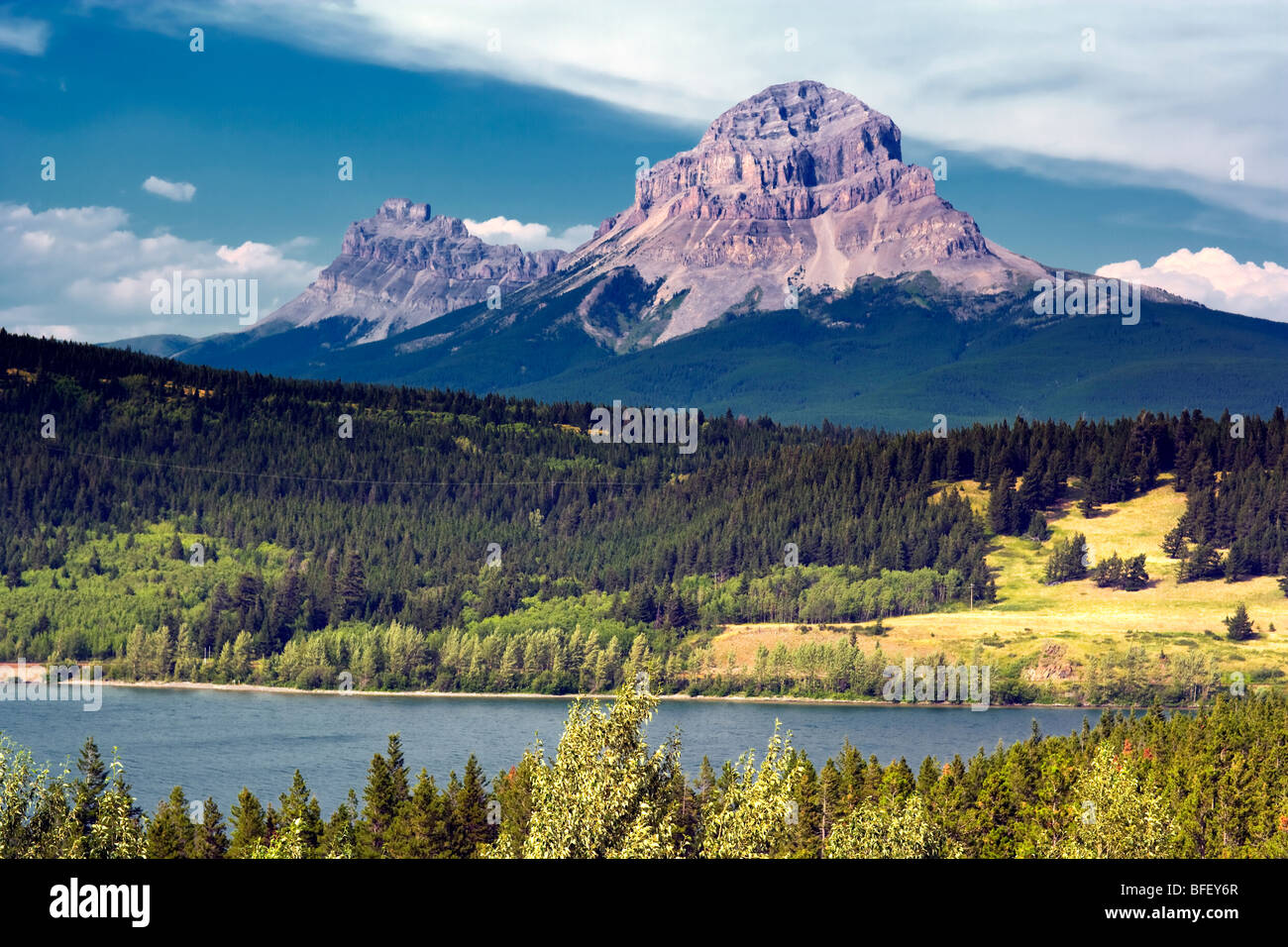 Crowsnest Mountain, Alberta, Canada, Rockies, lake - Stock Image