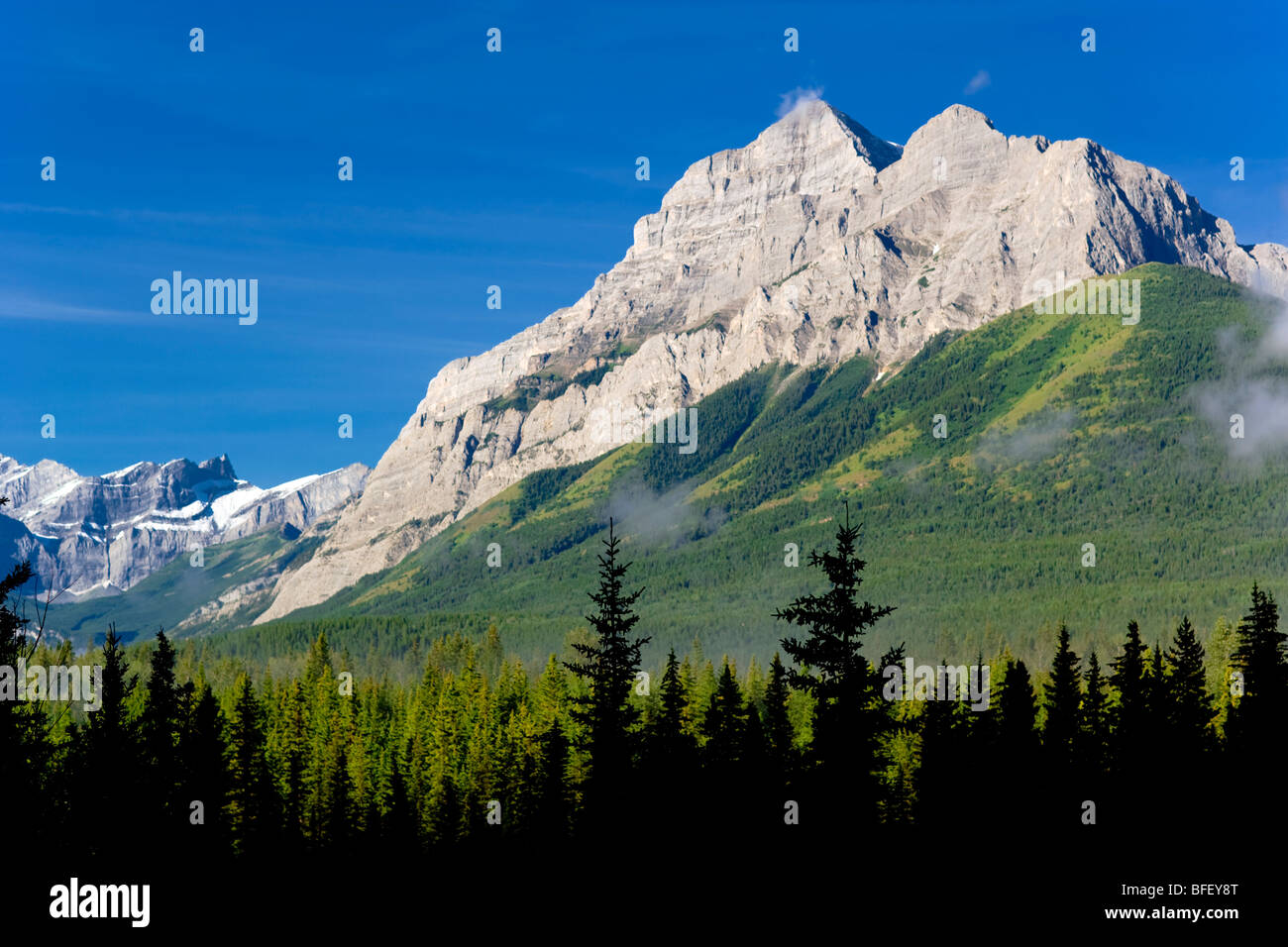 Kananaskis Provincial Park, Alberta, Canada, trees, forest, Mountain, Rockies, Geological formation - Stock Image