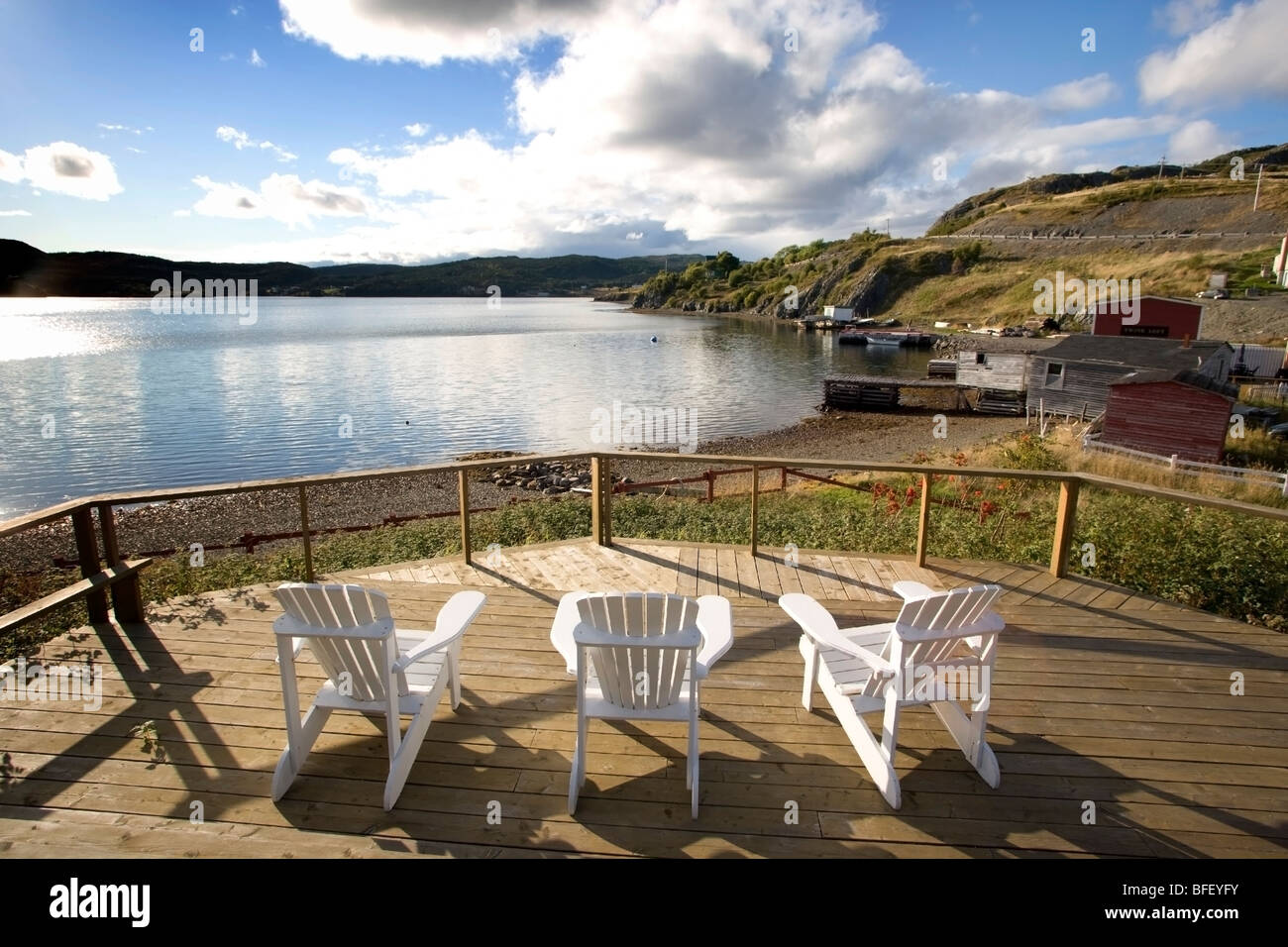 Lawn chairs, Gover House, Artisan Inn, Trinity, Newfoundland, Canada - Stock Image