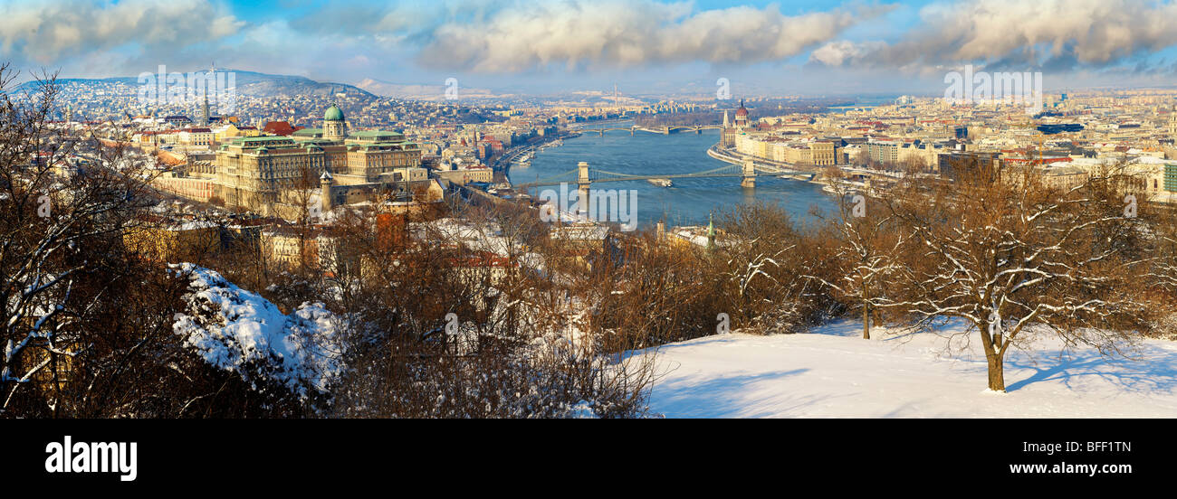 Panoramic view of Budapest and the Danube, Hungary - Stock Image