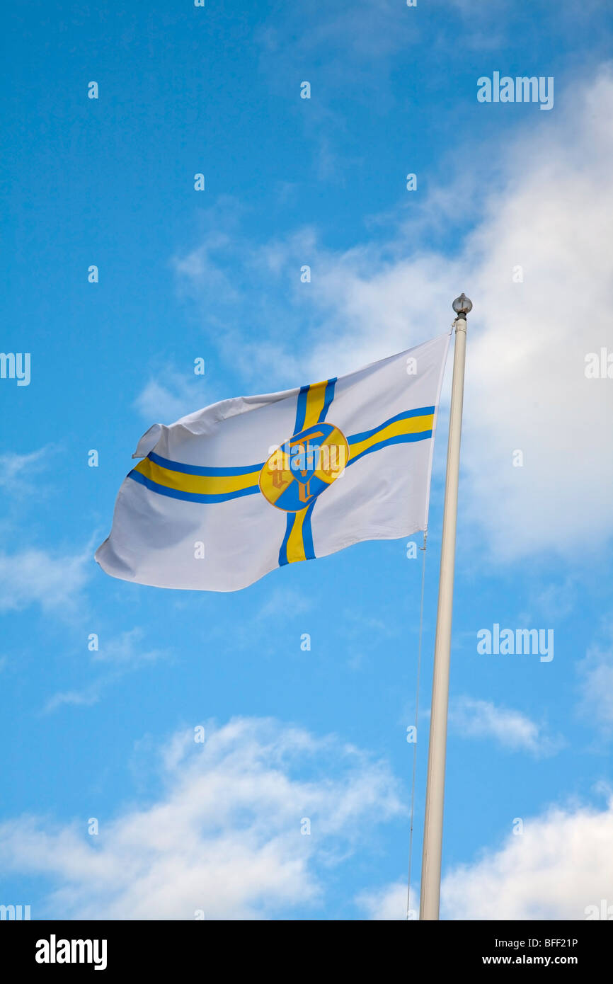 Flag of swedish tourist bureau Jämtland Sweden STF - Stock Image