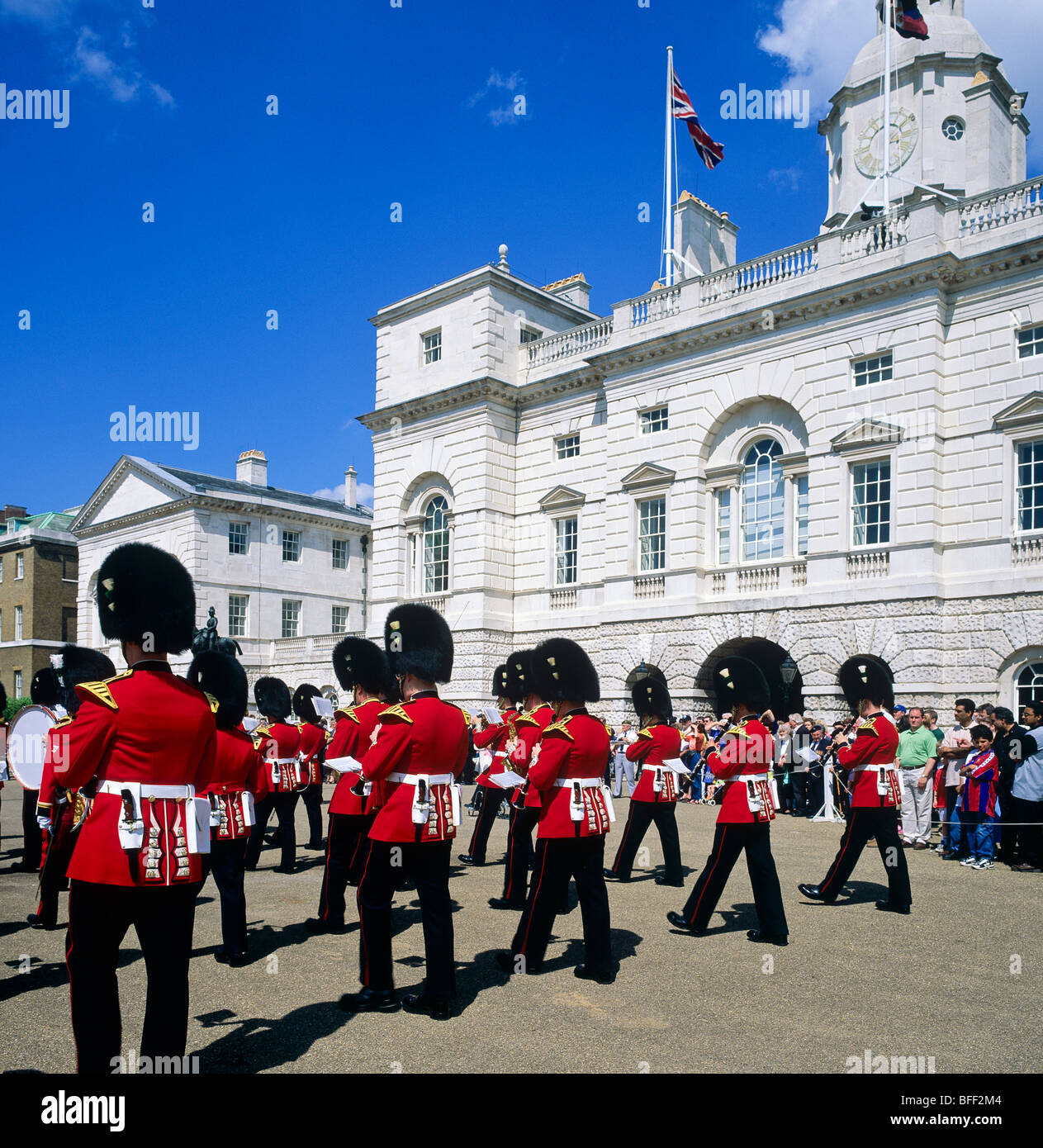 Royal Welsh guards marching band Whitehall London Great Britain Stock Photo