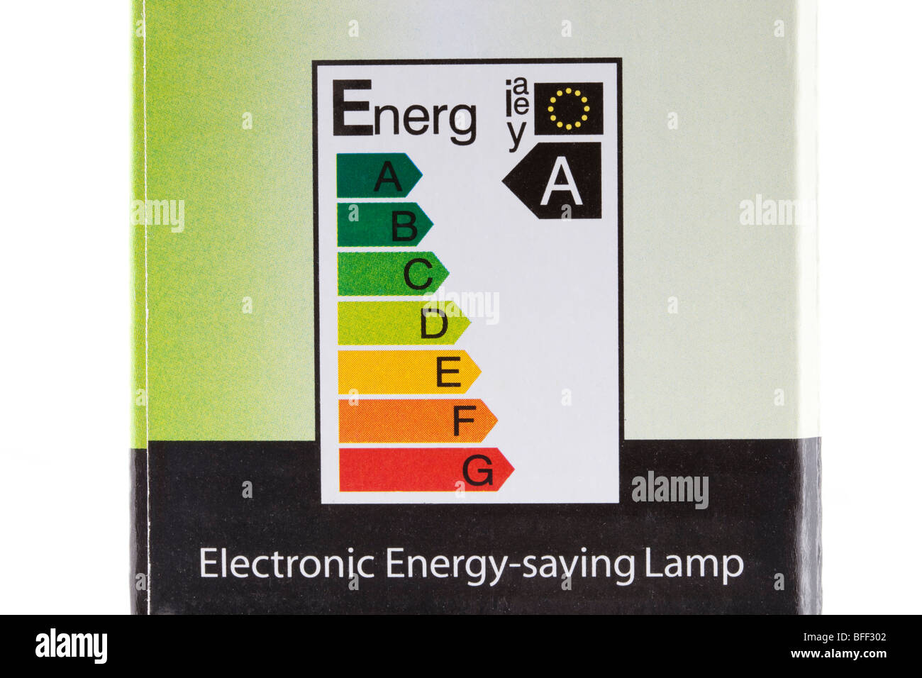 EU electrical energy label on low energy light bulb box showing highest energy efficiency rating A. England UK Britain - Stock Image