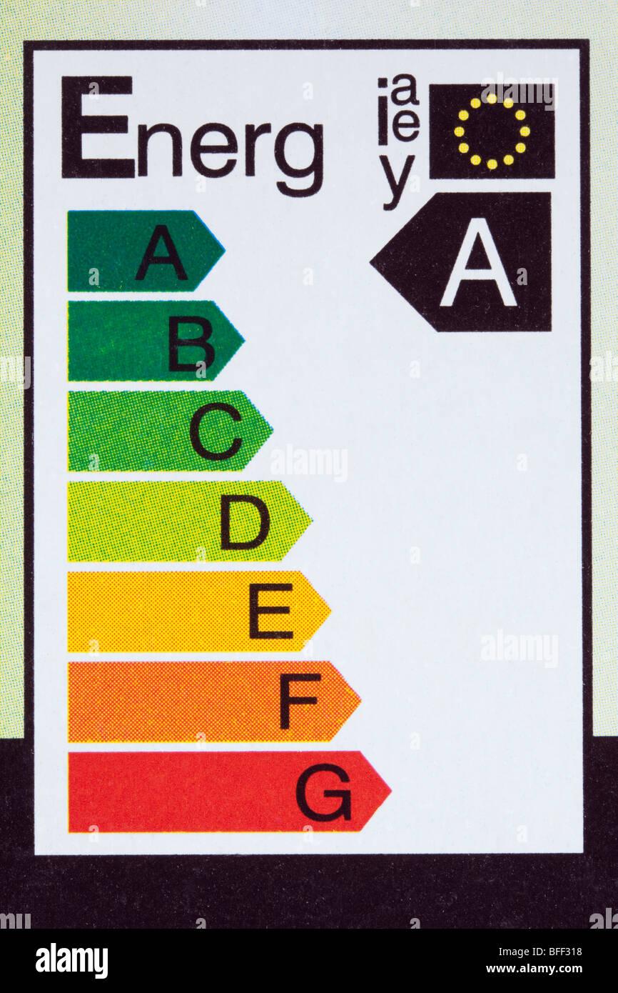 EU electrical energy efficiency label on low energy light bulb box. England UK Britain - Stock Image