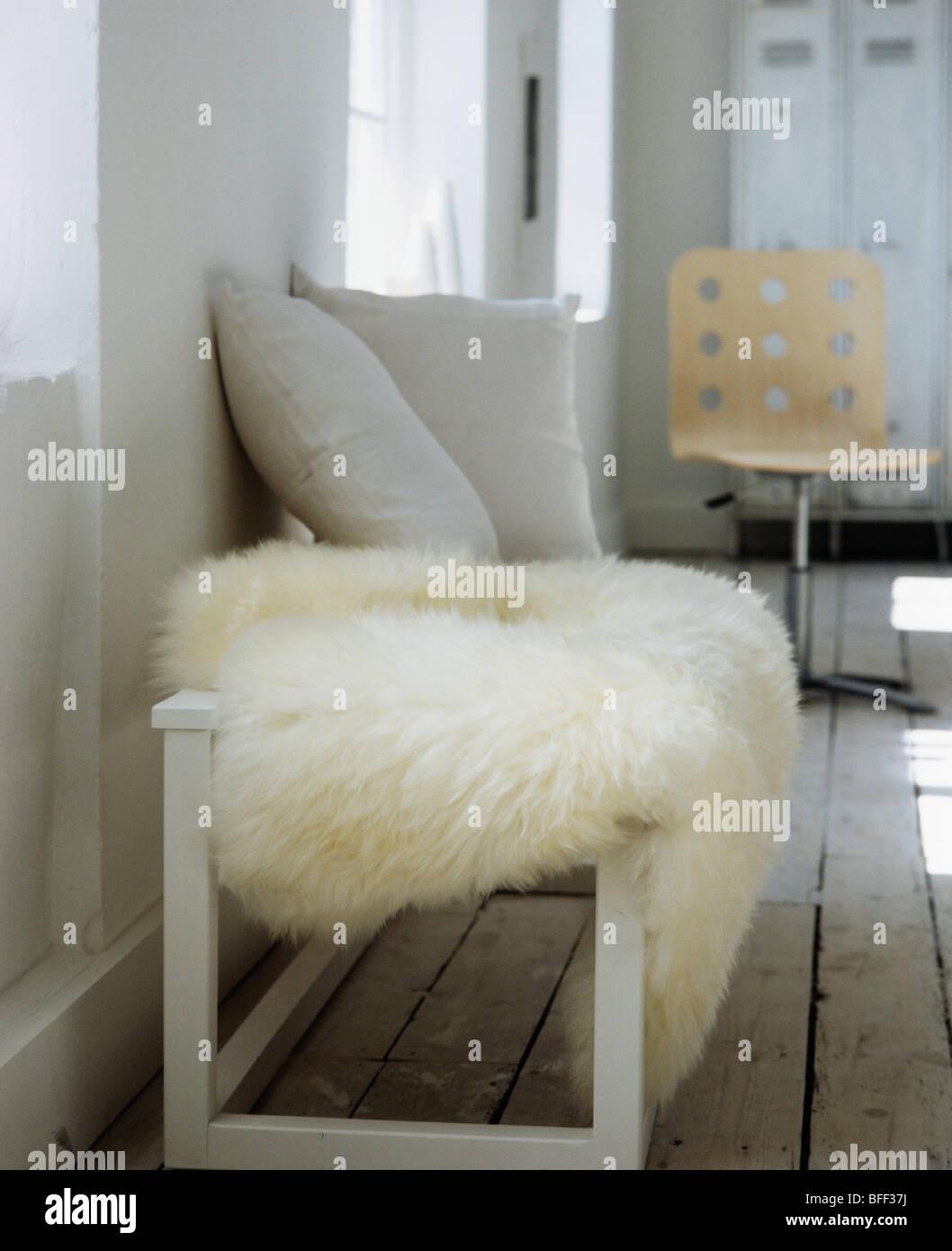 mongolian products interniture banquette bench lamb sheepskin fur stool white