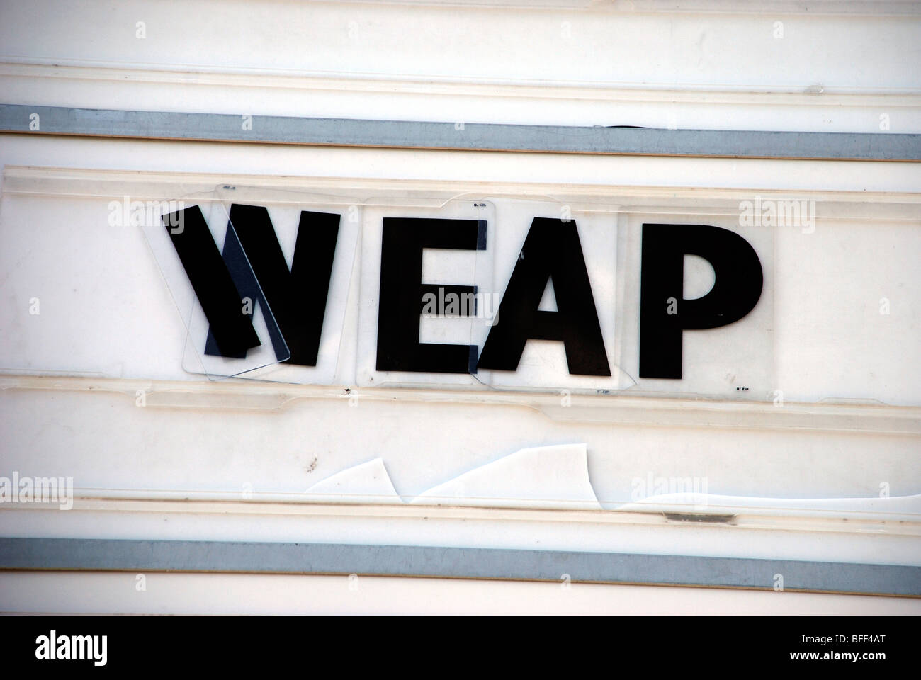 WEAP, Found Type on Cinema Marquee - Stock Image