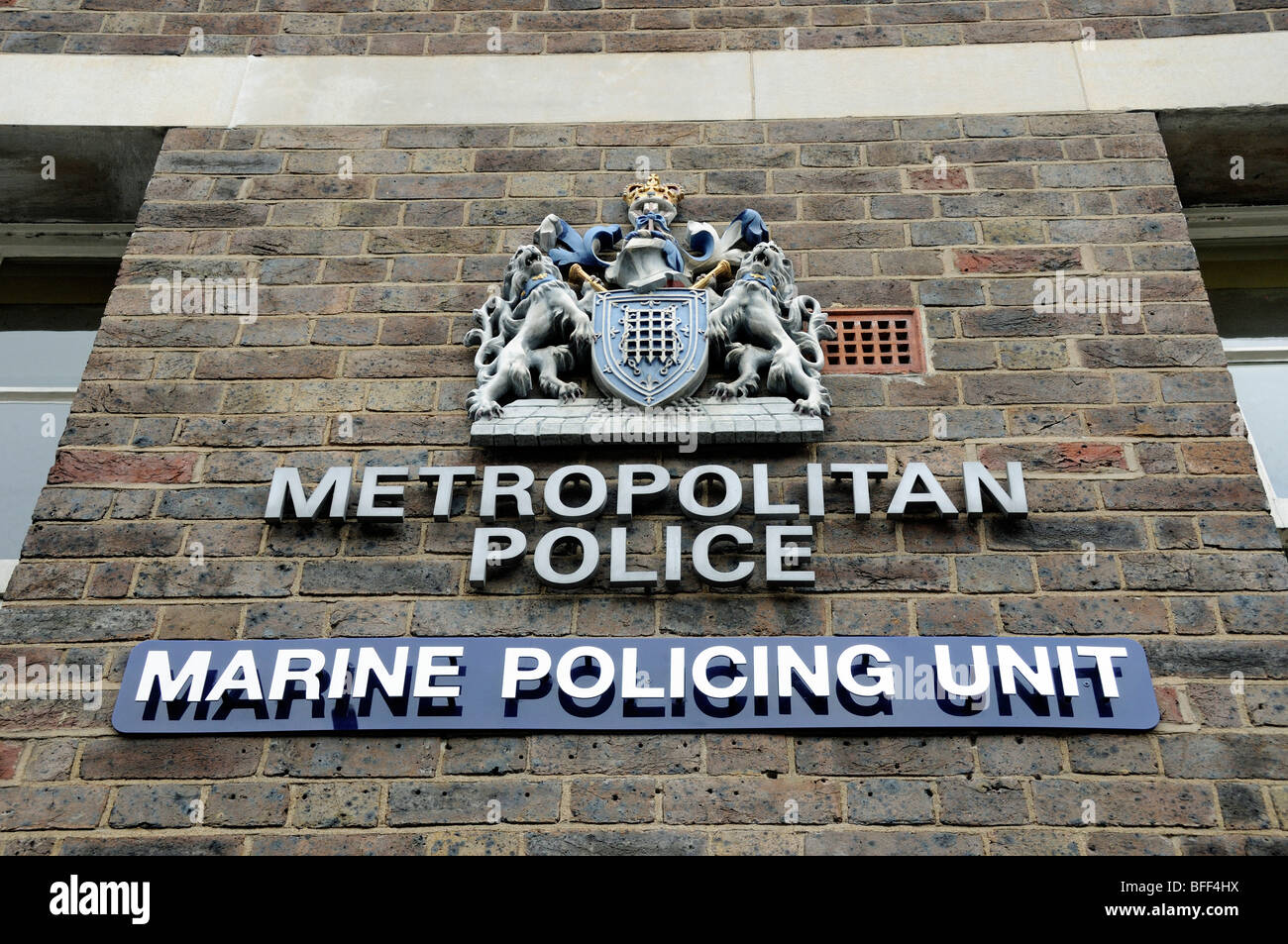 Metropolitan Police, Marine Policing Unit sign Wapping London England UK - Stock Image