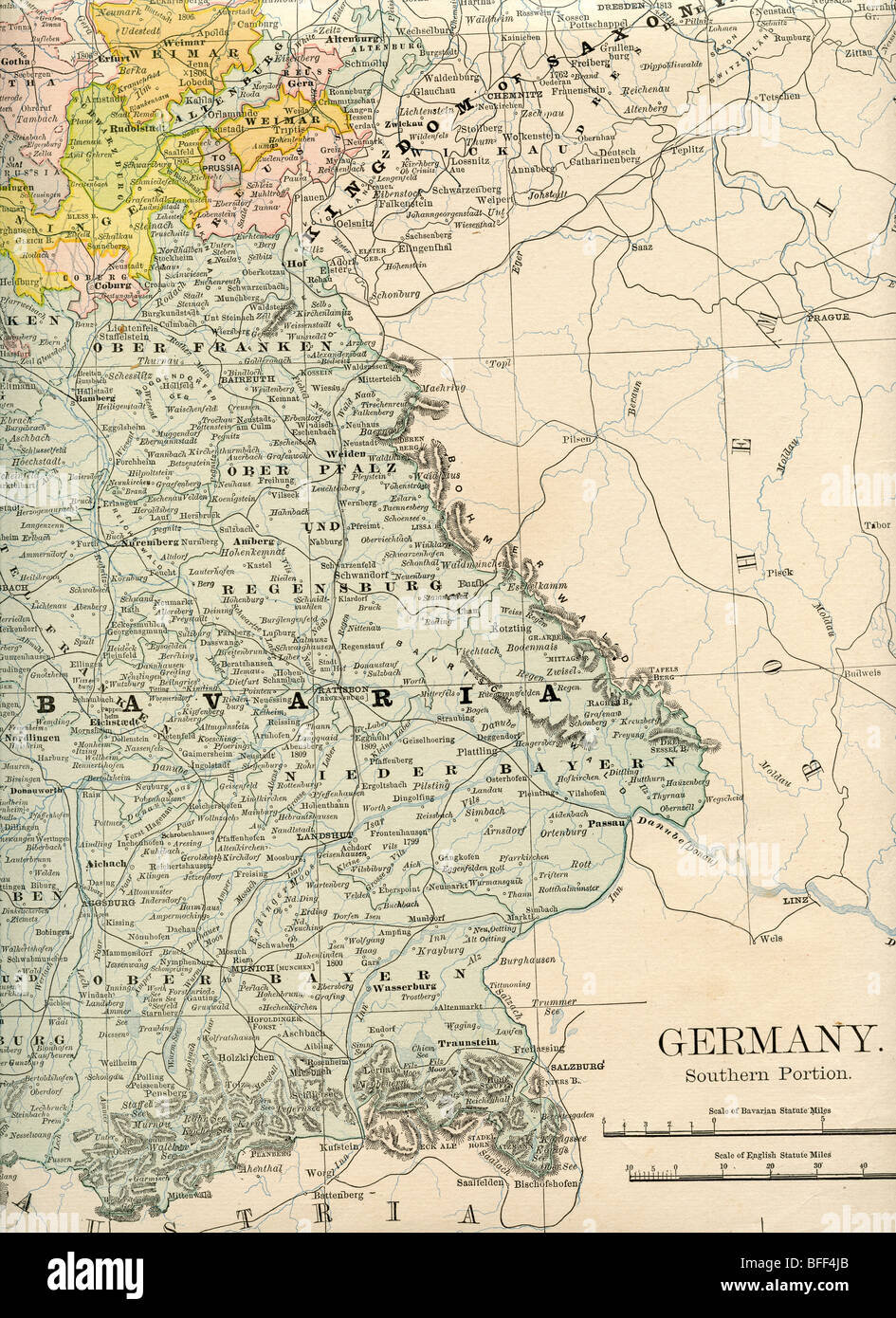 original old map of bavaria and southern germany from 1884 geography textbook