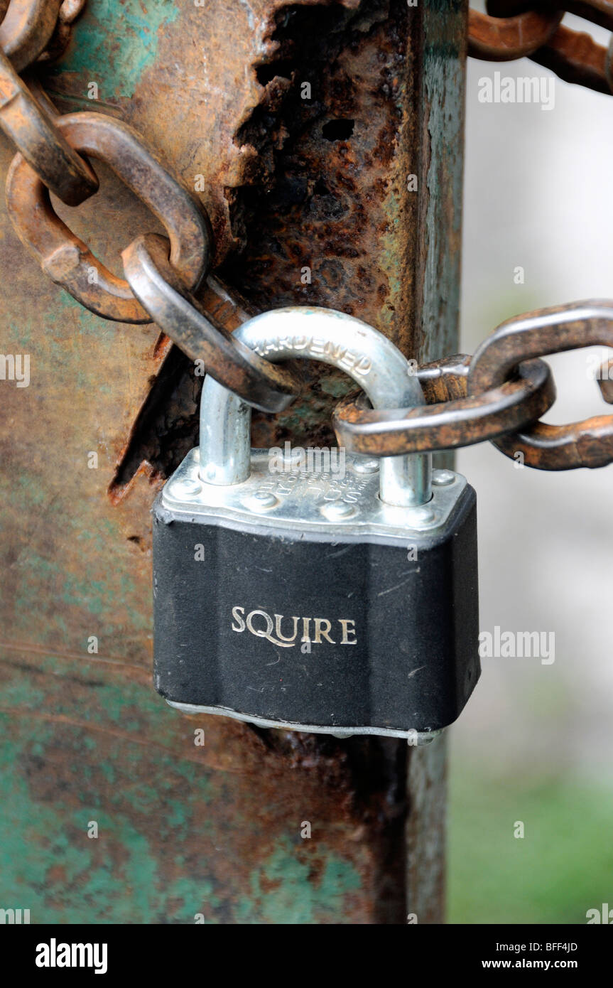 Padlock and rusty chain on green metal rusted gates - Stock Image