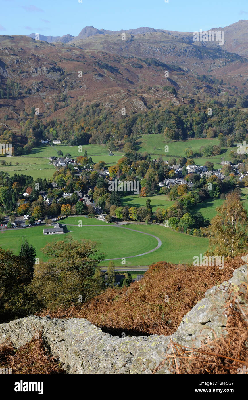 Looking down on Grasmere village from the slopes of Heron Pike in the English Lake District - Stock Image
