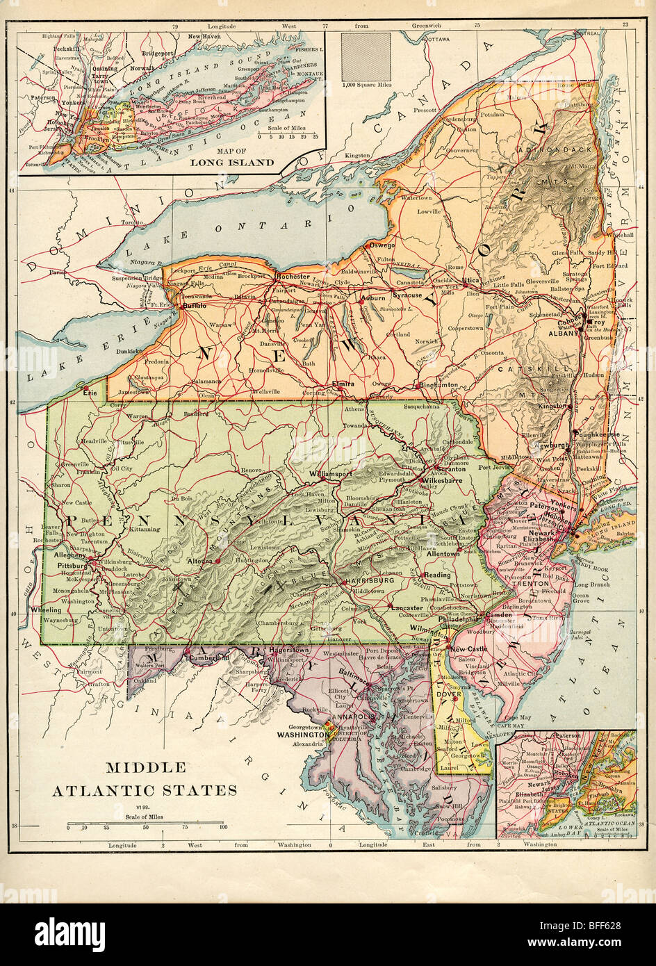 Mid Atlantic States Map.Original Old Map Of Mid Atlantic States From 1879 Geography Textbook