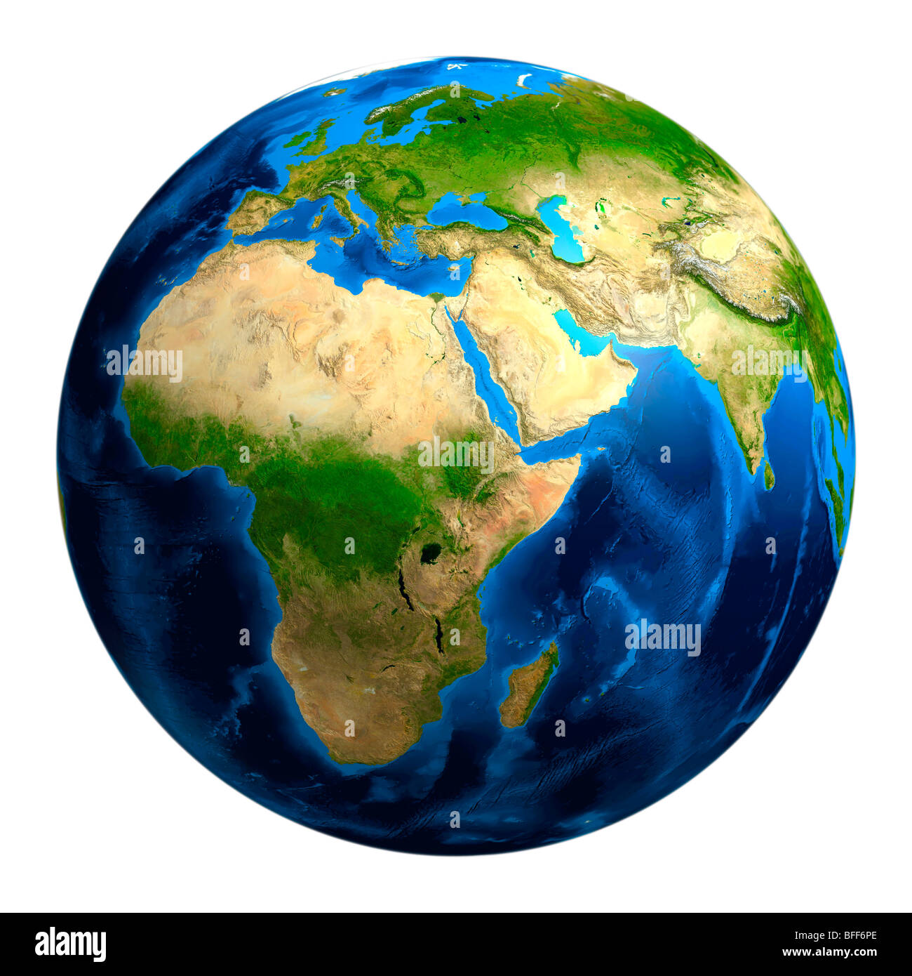 View of the Earth globe from space showing African, European and Asian continents - Stock Image