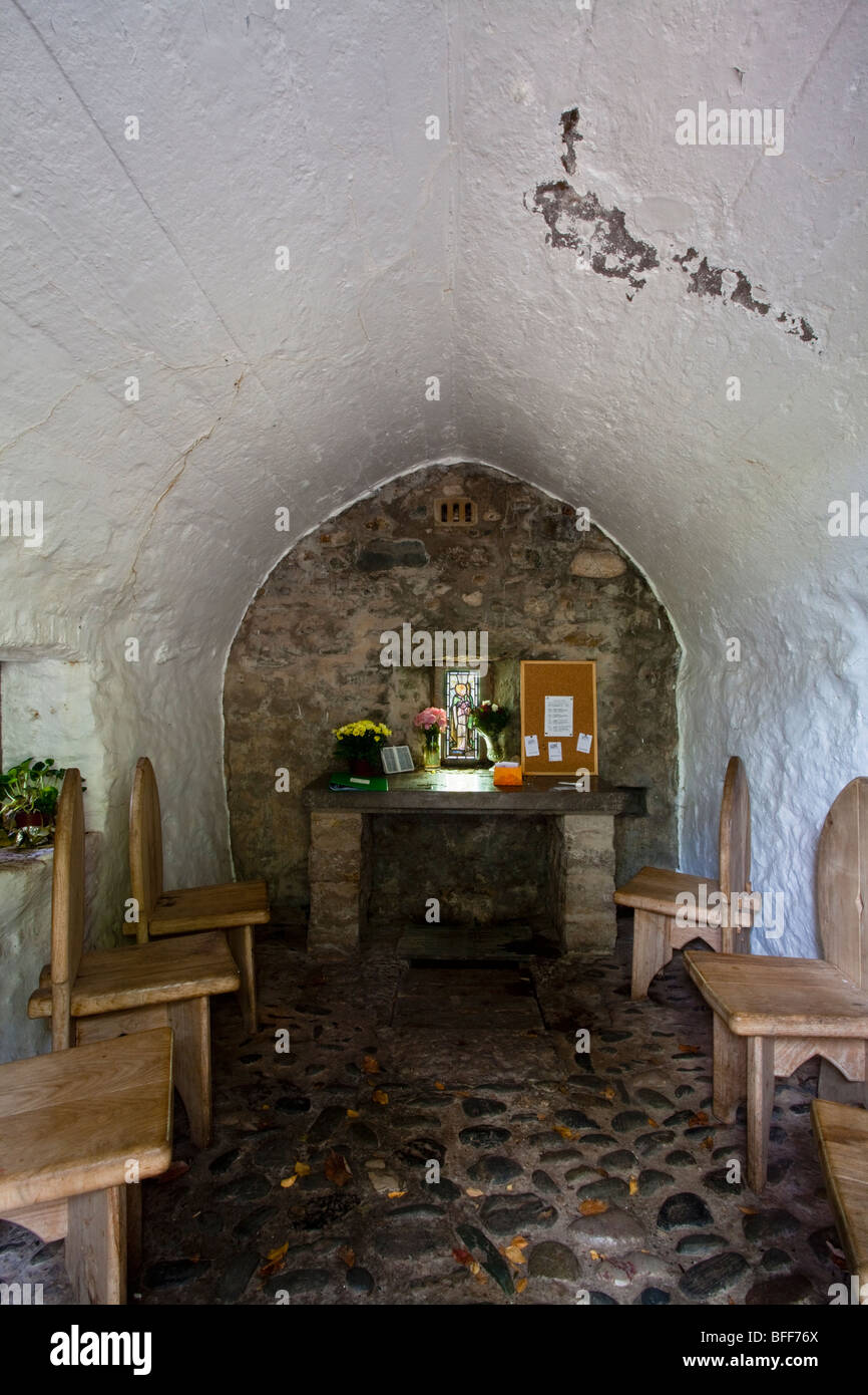 Inside view of St Trillo chapel in Rhos on Sea, Wales, UK - Stock Image