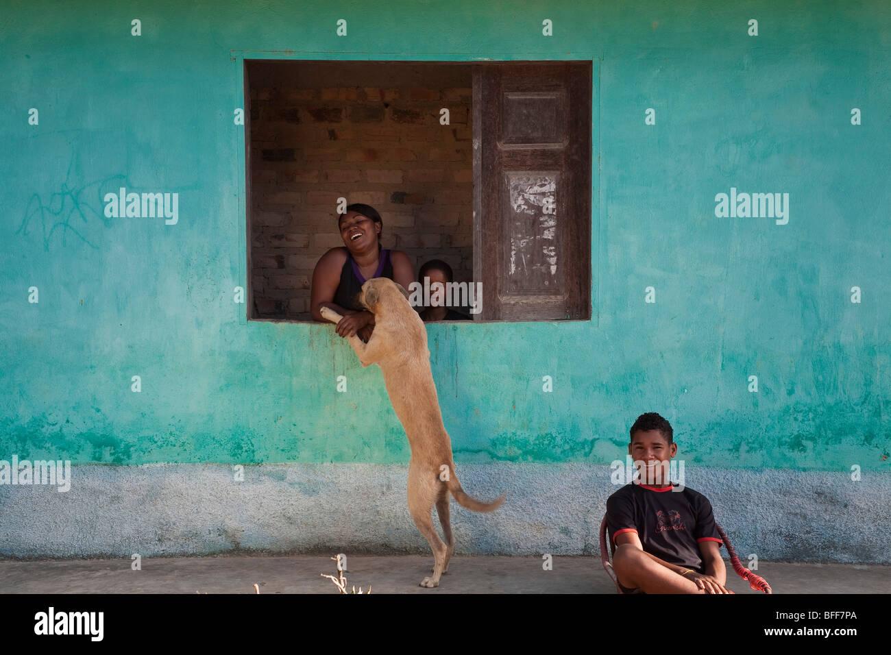 Portrait of a black family at Sao Raimundo Quilombo in Alcantara, Maranhao, Northeast Brazil. - Stock Image