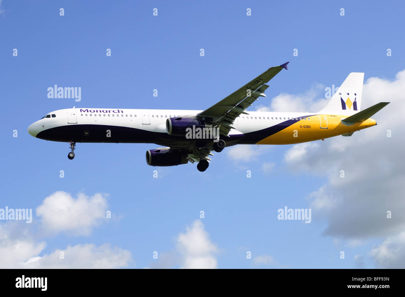 Airbus A321 operated by Monarch Airlines on approach for landing at Birmingham Airport Stock Photo