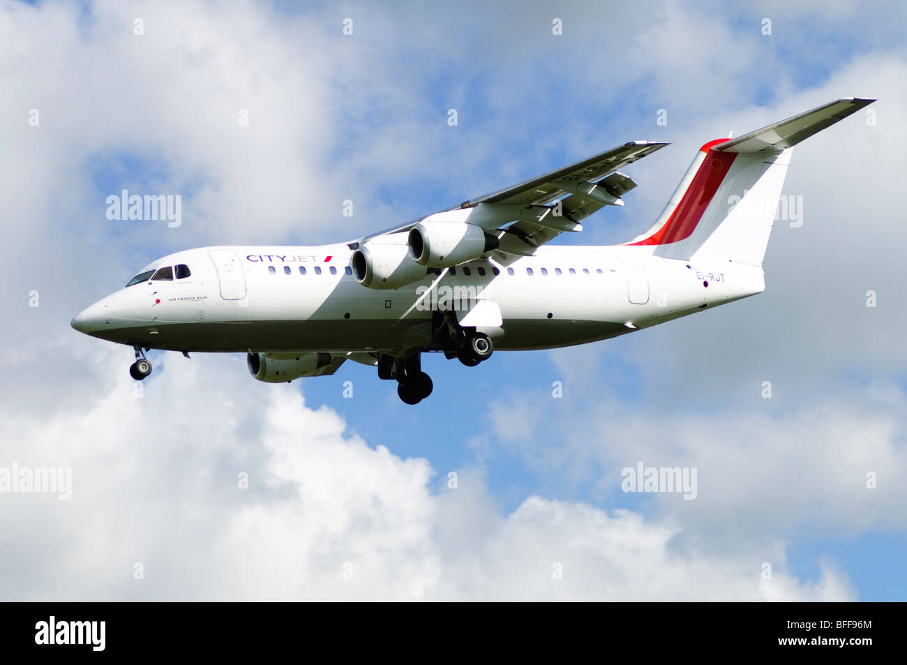 Avro RJ85 operated by Cityjet on approach for landing at Birmingham Airport - Stock Image