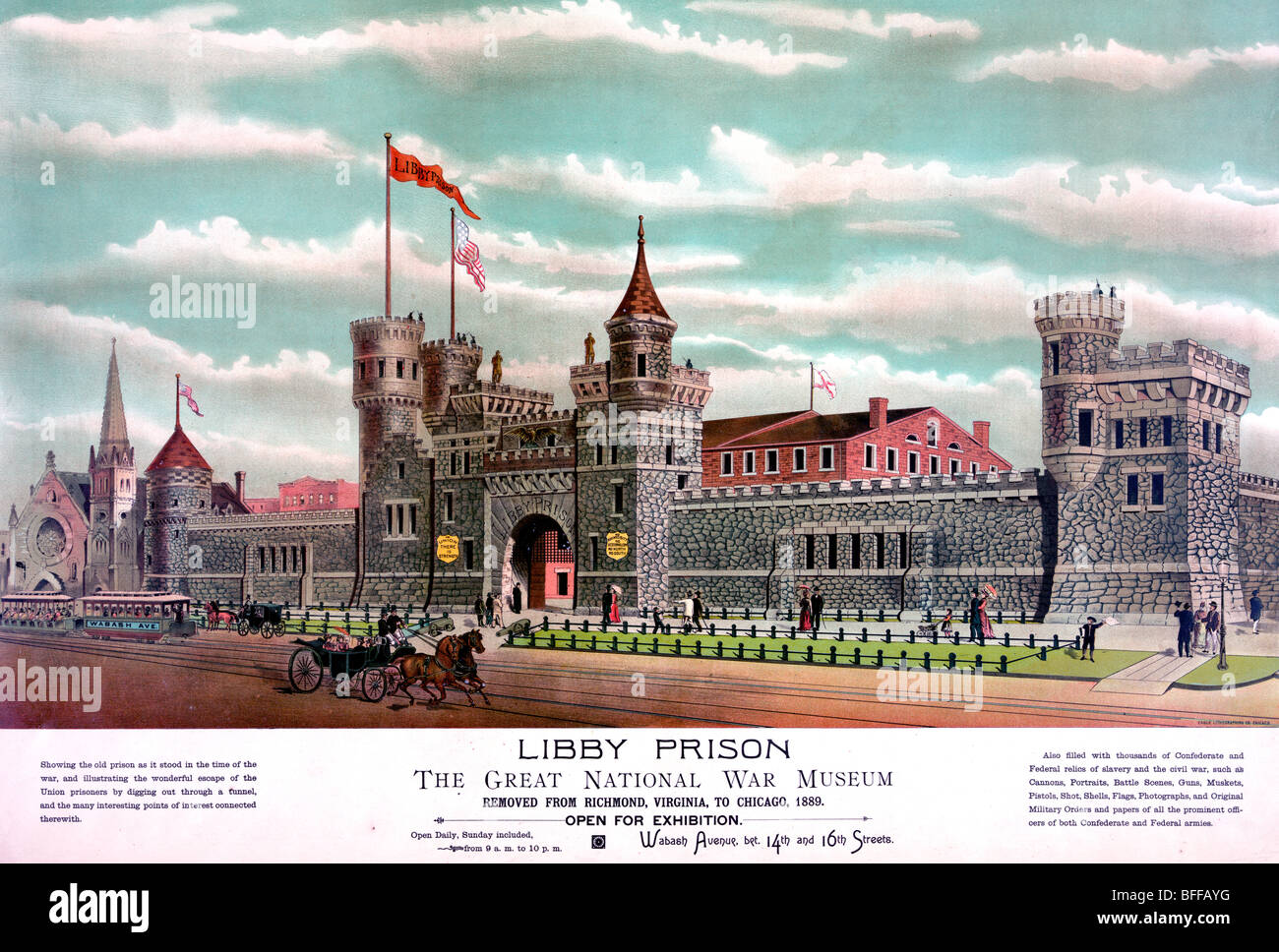 Libby Prison - The Great National War Museum, moved from Richmond to Chicago 1889 - Stock Image