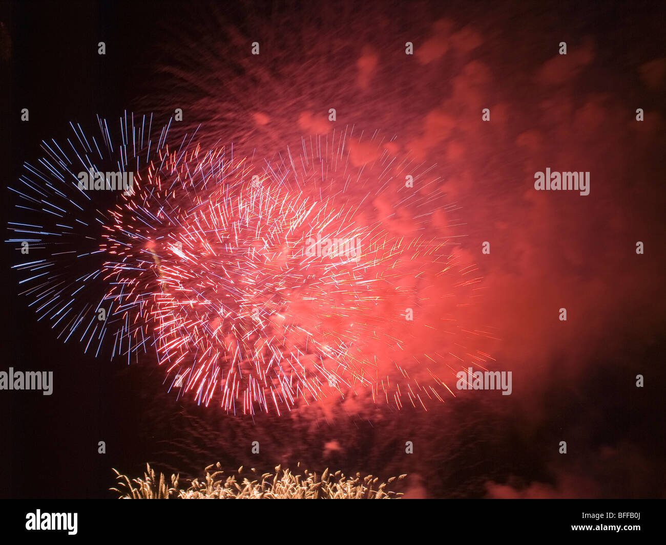 July 4th fireworks over Boston, Massachussetts, United States - Stock Image