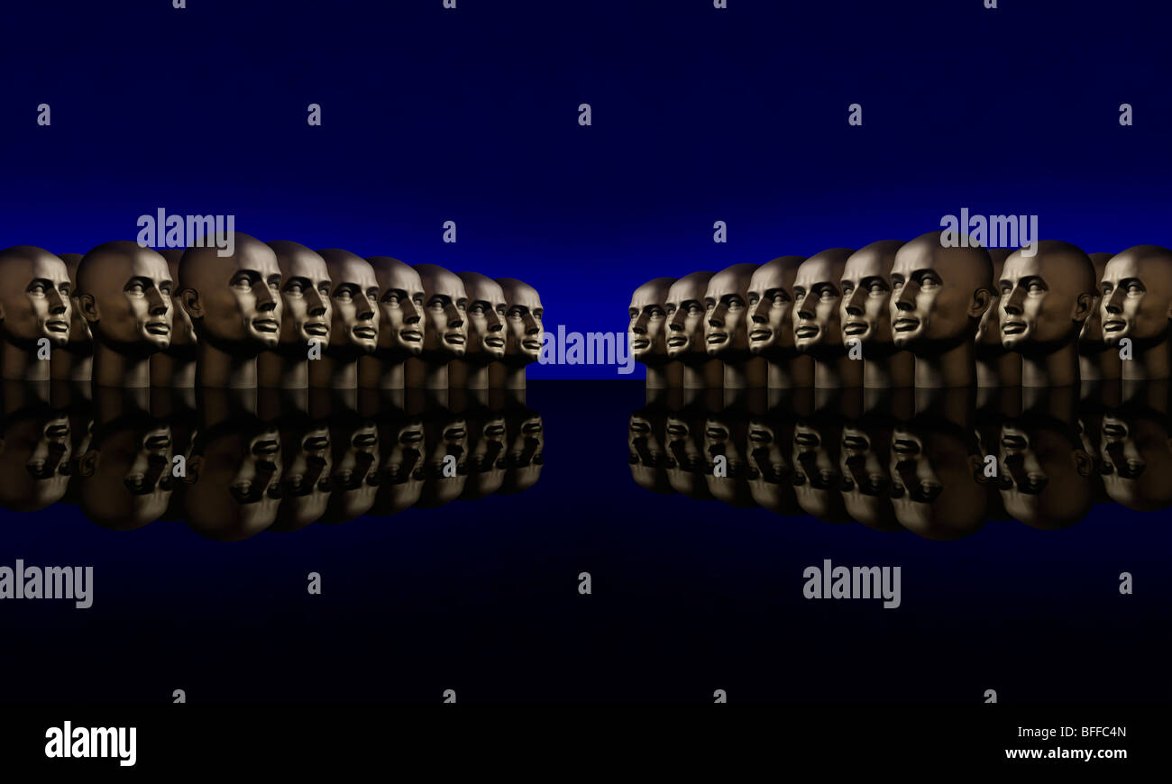 Two groups of mannequin heads opposite one another on a reflective black surface with a blue background - Stock Image