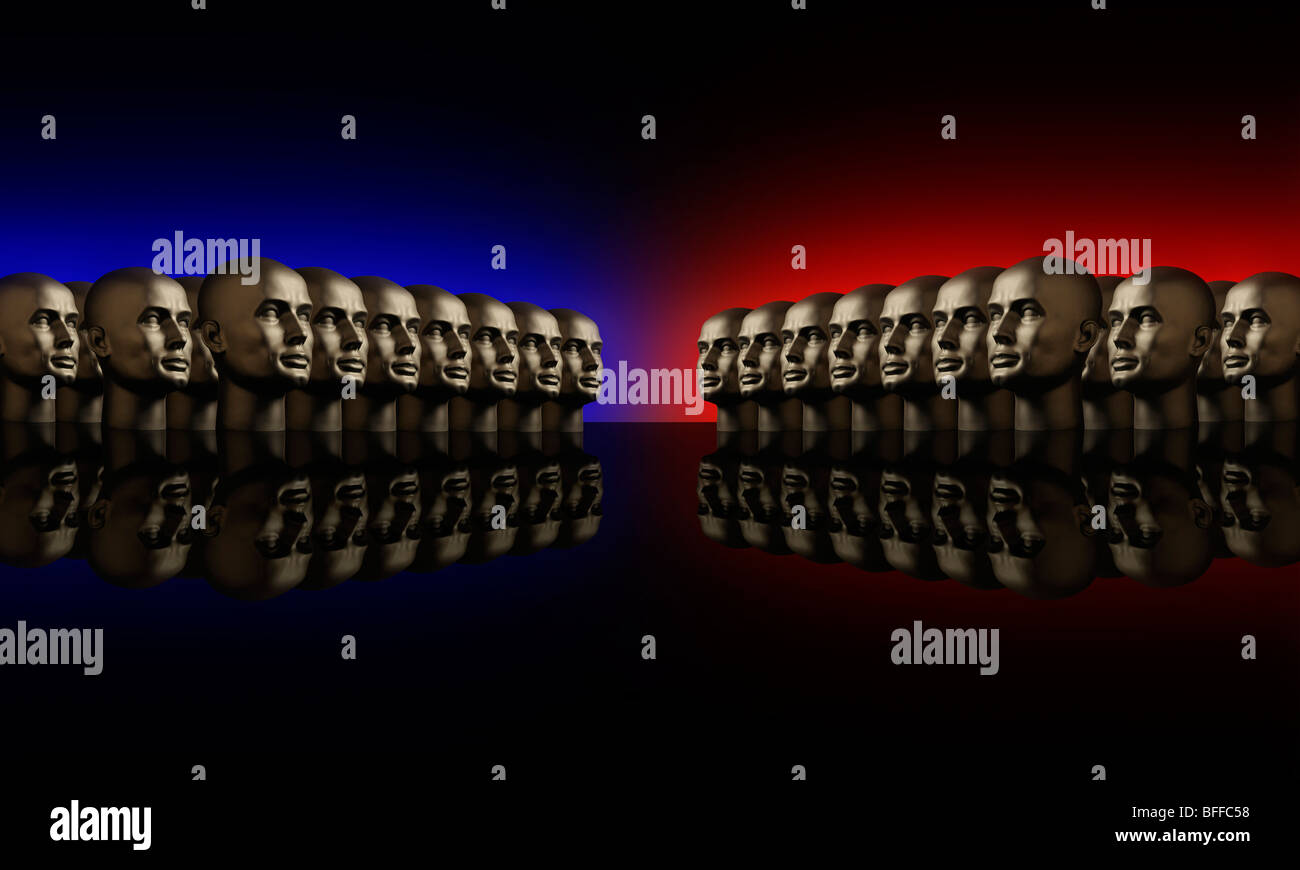 Two groups of metallic mannequin heads lined up opposite one another on a reflective black surface - Stock Image