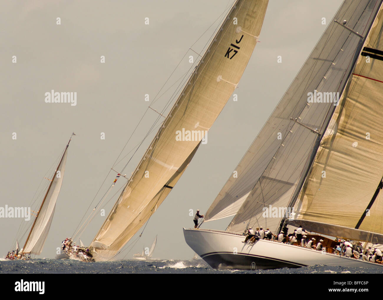 The J Class Velsheda and Ranger Compete in the Antigua Classic Yacht Regatta Stock Photo