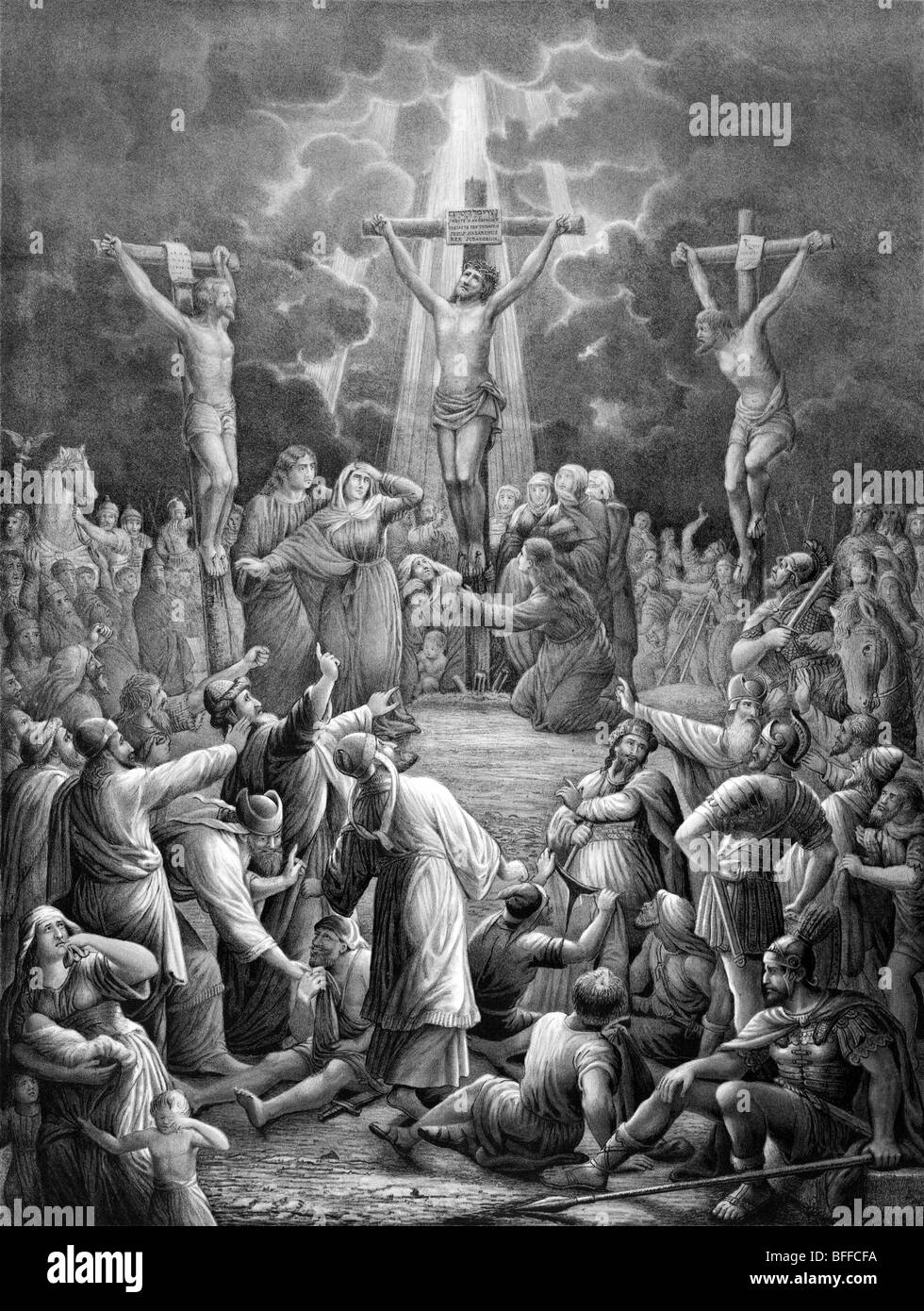 Print depicting the crucifixion of Jesus Christ at Golgotha, outside the walls of ancient Jerusalem, in the first - Stock Image