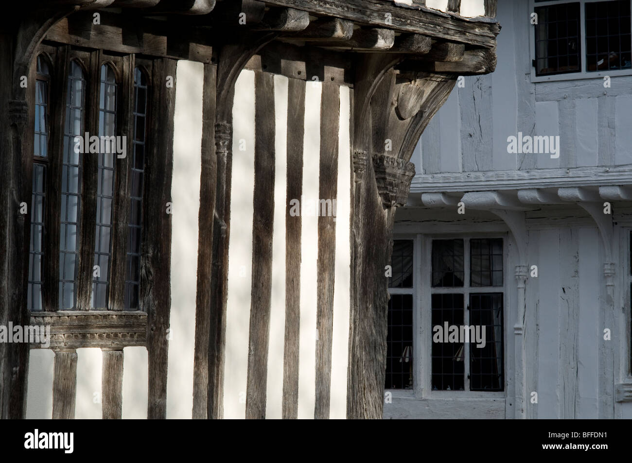 Timber-framed wattled walls of houses in Lavenham, Suffolk, England. - Stock Image