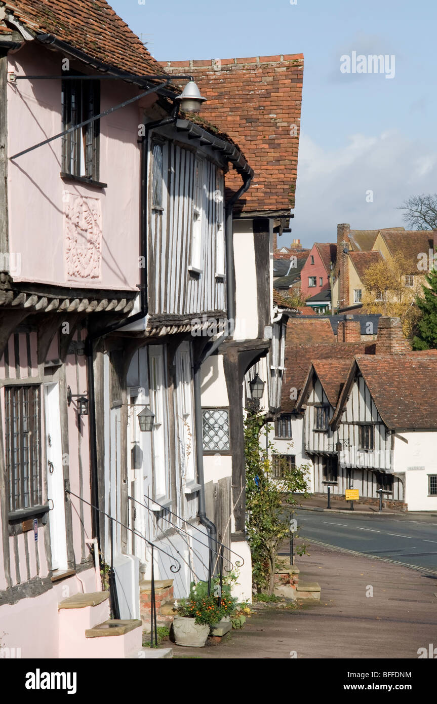Traditional old-fashioned English houses in a street in Lavenham, Suffolk, England. - Stock Image