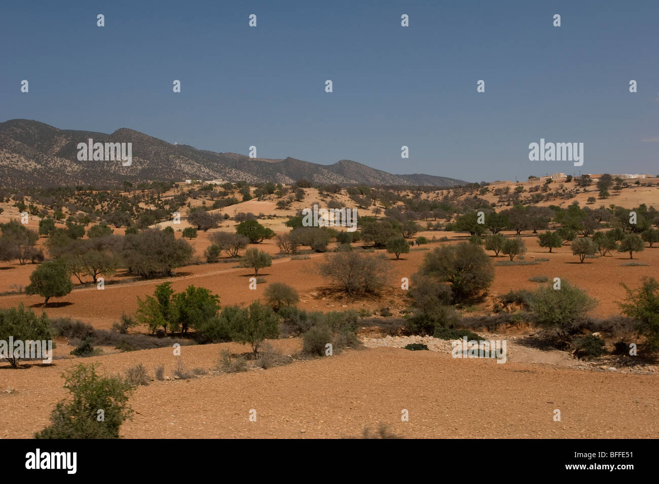 A semi-arid stretch of land between Taroudannt and Agadir in Morocco. - Stock Image