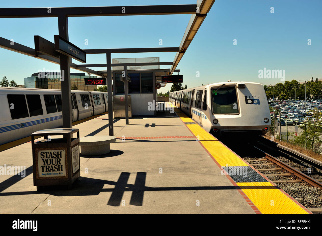 Trains in the BART station in San Francisco bay area - Stock Image