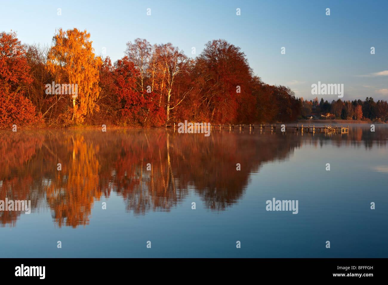 Herbststimmung am Wörthsee, Oberbayern, Deutschland - Stock Image