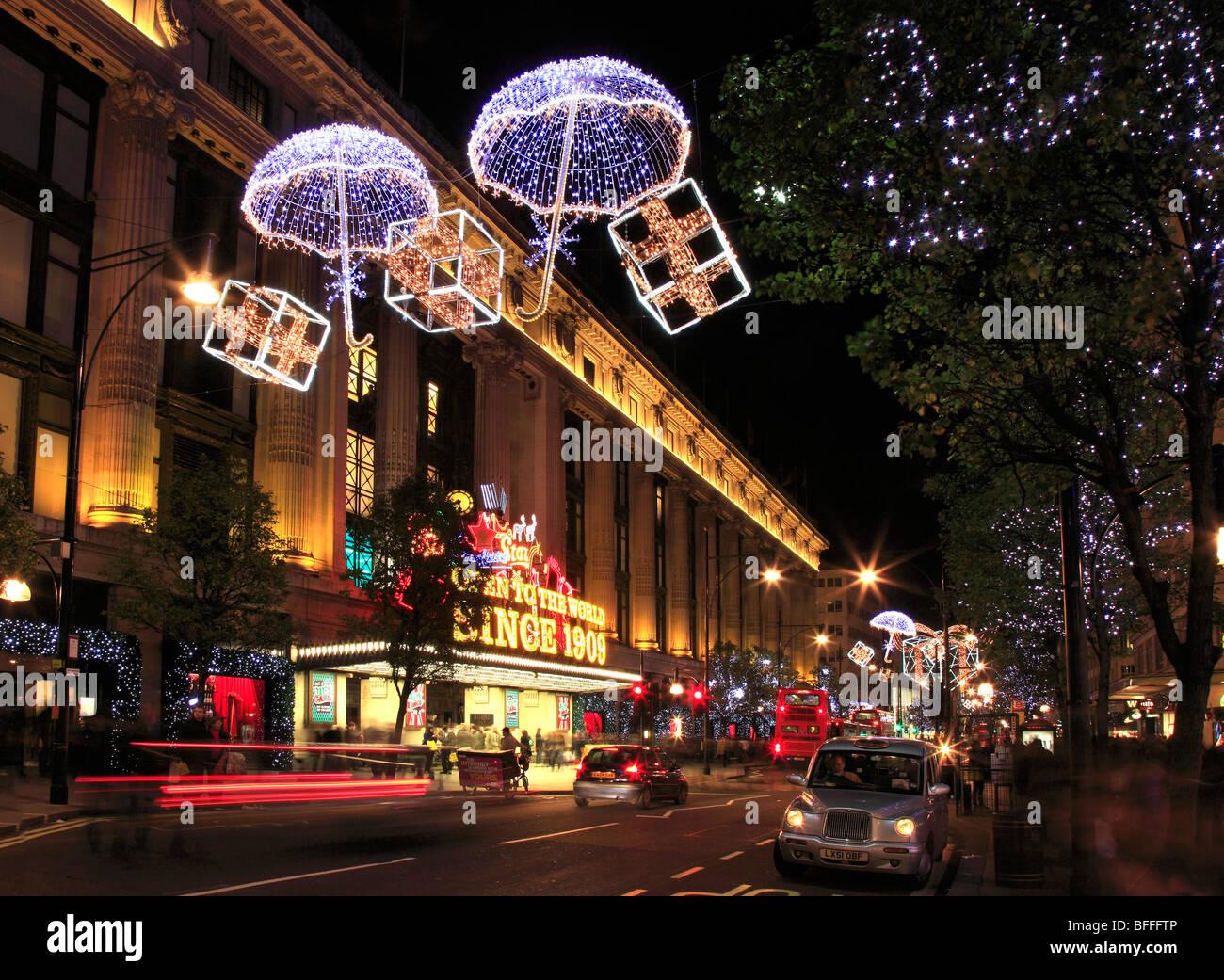 Selfridges store at Xmas in Oxford Street London UK - Stock Image