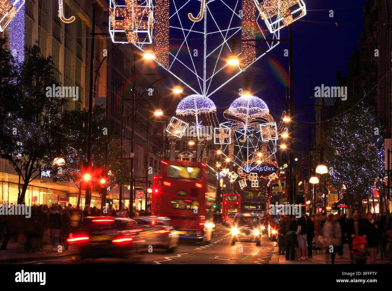 colourful christmas decorations in oxford street london uk stock image - London Christmas Decorations