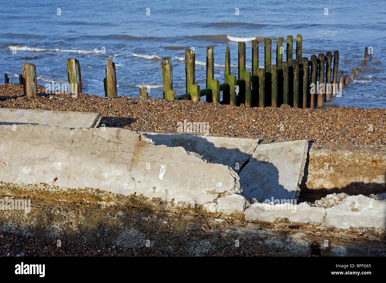 coast coastal erosion defences coastline coastal marine engineering damaged North Sea ocean British Isles English Stock Photo
