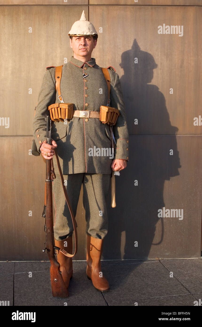 Soldier dressed in WW I German military uniform. - Stock Image