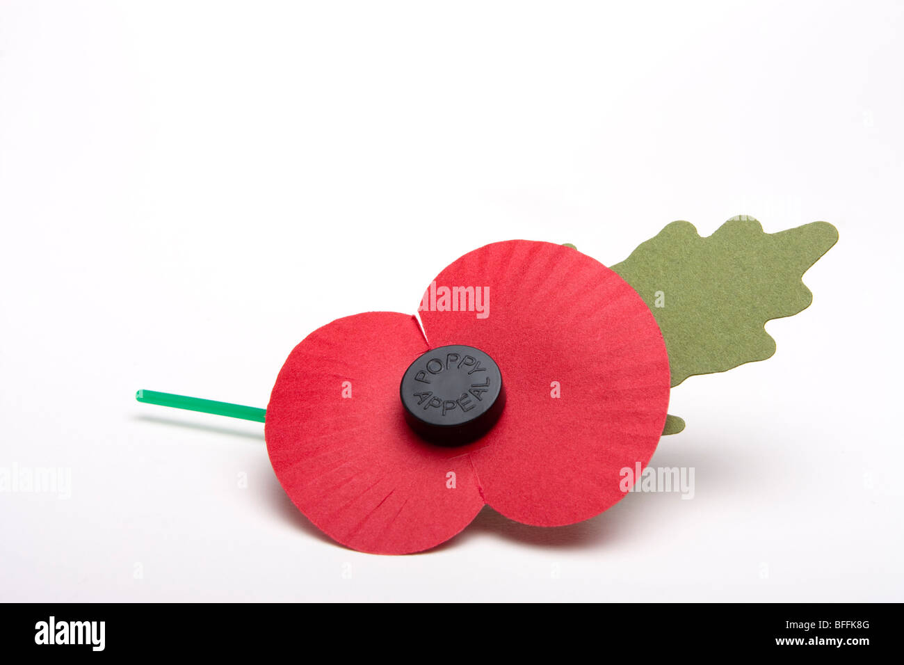 Single artificial poppy day appeal poppy isolated against white background. - Stock Image