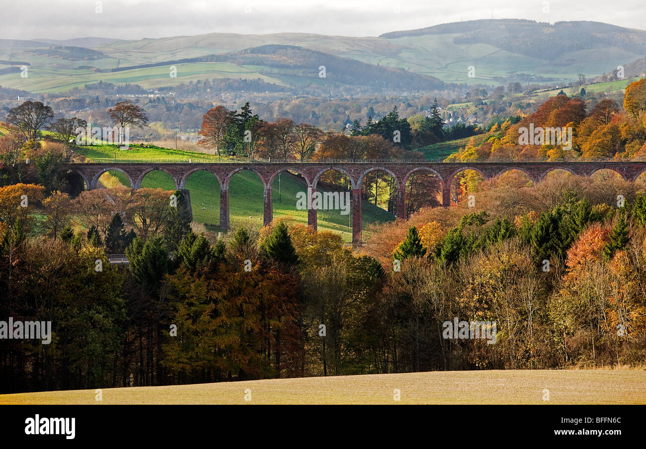 Leaderfoot viaduct. near Melrose. Scottish borders. - Stock Image